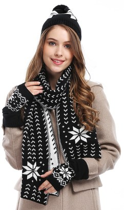 Honey Cool Bienvenu Women's Snowflake Hat Gloves and Scarf Winter Set - Black -