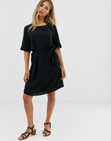 JDY tie waist shift mini dress in black