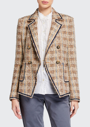 Veronica Beard Theron Double-Breasted Plaid Jacket