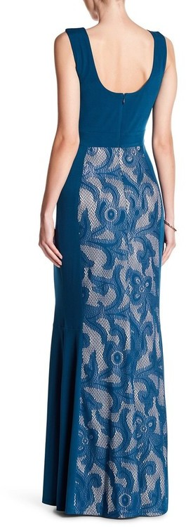 Sangria DWHGC93 Sleeveless Lace Panel Gown