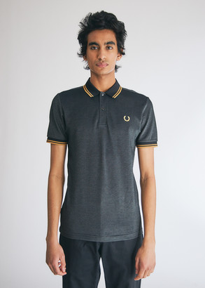Fred Perry Men's Two Tone Tipped Pique Polo Shirt in Gunmetal, Size Small