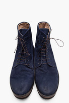 Marsèll Navy brushed suede bloccone boots