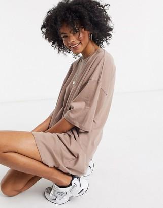 ASOS DESIGN oversized t-shirt dress in mink