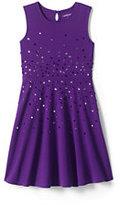 Lands' End Little Girls Sparkle Ponte Dress-Purple Cascading Sequin