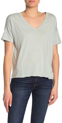 Lucky Brand Seam Detail Burnout V-Neck T-Shirt
