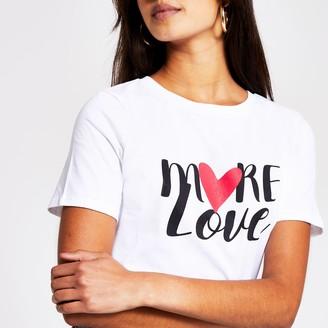 River Island Womens White 'More Love' print t-shirt