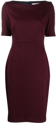 HUGO BOSS Houndstooth-Print Short-Sleeved Midi Dress