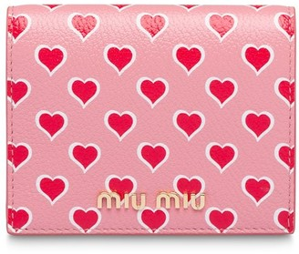 Miu Miu heart printed Madras leather wallet