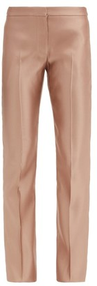 Alexander McQueen Mid-rise Silk-satin Straight-leg Trousers - Light Gold