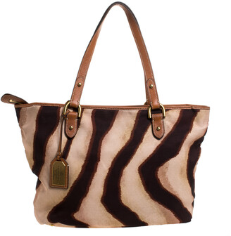 Ralph Lauren Beige/Brown Zebra Canvas and Leather Tote