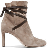 Jimmy Choo Dalal Leather-trimmed Suede Ankle Boots - Beige