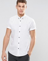 Asos Regular Fit Smart Shirt In White With Button Down Collar And Contrast Buttons Short Sleeves