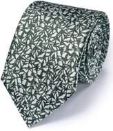 Charles Tyrwhitt Khaki Silk Classic Abstract Texture Tie Size OSFA