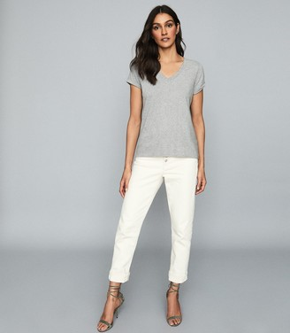 Reiss Luana - Cotton-jersey V-neck T-shirt in Grey Marl