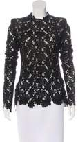 Monique Lhuillier Long Sleeve Lace Top