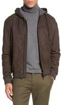 Vince Modern Hooded Full Zip Leather Jacket