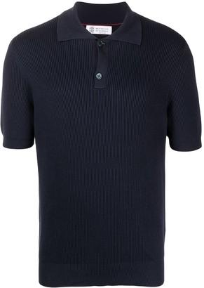 Brunello Cucinelli Rib Knit Polo Shirt