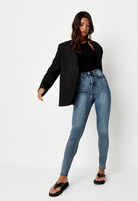 Missguided Blue Vintage Wash Clean Skinny Jeans