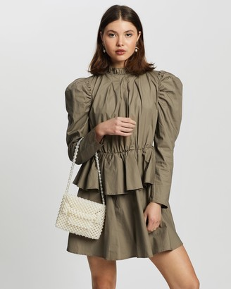 Missguided Women's Brown Mini Dresses - Puff Sleeve High Neck Poplin Smock Dress - Size 10 at The Iconic