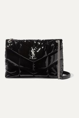 Saint Laurent Loulou Quilted Patent-leather Shoulder Bag - Black