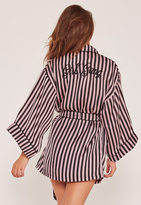Missguided Girl Gang Silk Robe Black And Pink