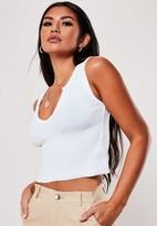 Missguided White Notch Neck Sleeveless Crop Top