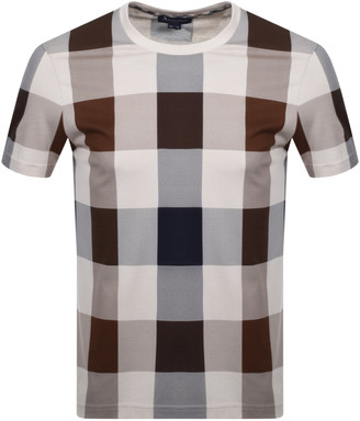 Aquascutum London Kenneth Large Club Check T Shirt Brown