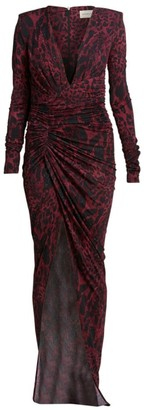Alexandre Vauthier Lynx Print Crystal Ruched Waist Side Slit Gown