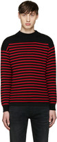 Saint Laurent Black & Red Striped Sweater