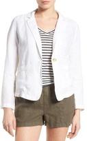 Caslon Linen One-Button Blazer (Petite)