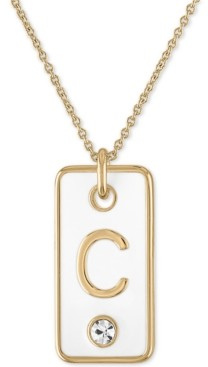 "Rachel Roy Gold-Tone Initial White Tag Pendant Necklace, 24"" + 2"" extender"