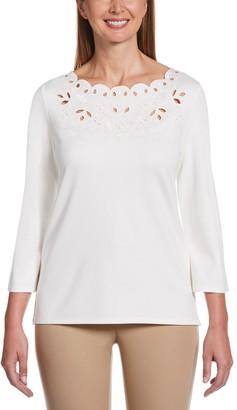 Rafaella Women's 3/4 Sleeve Embroidered Top