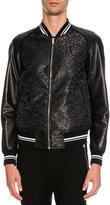 Alexander McQueen Leopard-Print Jacquard Varsity Jacket with Leather Sleeves, Metallic Black