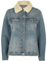 River Island Womens Mid blue borg trim denim jacket