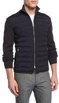 Tom Ford Zip-Front Puffer Jacket with Sweater Sleeves, Navy