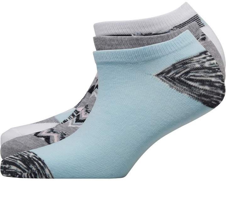 Fruit Cake Fruitcake Womens Three Pack Abstract Print Trainer Liner Socks Triangle Print/Blue Block/Grey Print