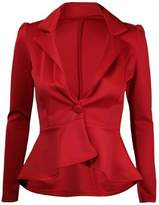 Momo&Ayat Fashions Ladies Plus Size One Button Frill Peplum Blazer Jacket US Size 14-22