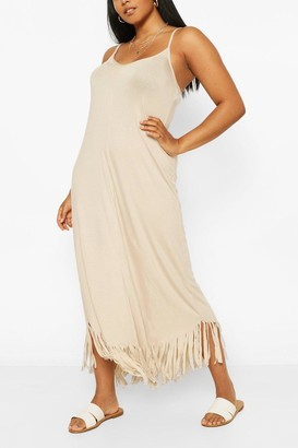 boohoo Plus Strappy Tassel Hem Maxi Dress