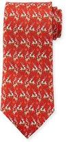 Salvatore Ferragamo Reindeer-Print Silk Tie, Red