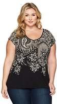 Lucky Brand Women's Plus Size Short Sleeve Big Paisley Tee