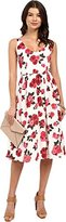 BB Dakota Women's Claudia Summer Rose Printed Reverse Crepon Midi Dress