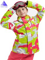 Vector Windproof Waterproof Warm Snowboard Hooded Coat Children Ski Jacket XL