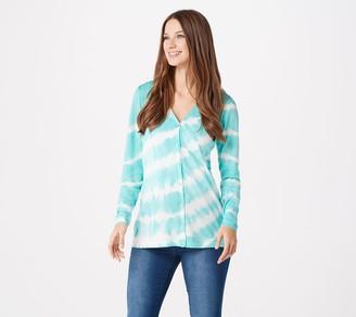 Denim & Co. Tie Dye Button Front Long Sleeve Cardigan