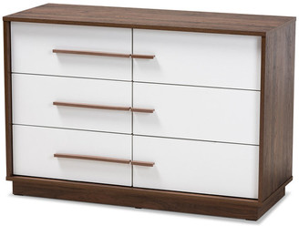 Baxton Studio Kaila Mid-Century Modern Two-Tone White & Walnut 6-Drawer Wood Dresser