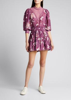 LoveShackFancy Viola Floral Print Mini Dress