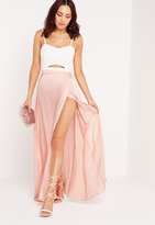 Missguided Satin Wrap Maxi Skirt Pink