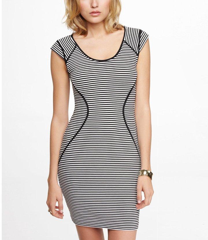 Express Striped Cap Sleeve Sheath Dress