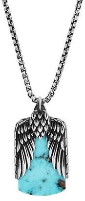 John Hardy Legends Eagle Silver Dog Tag Pendant Box Chain Necklace