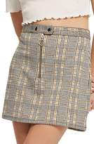 Topshop Zip Popper Plaid Miniskirt