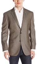 Andrew Marc Men's Corelli Regular Fit 2 Button Side Vent Notch Lapel Jacket, Brown/Grey